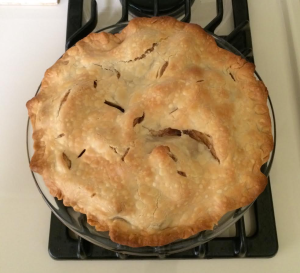 My apple pie looks about as distressed as I feel waiting for Jerry Brown's decision. Hope the distress doesn't doom the palatability!